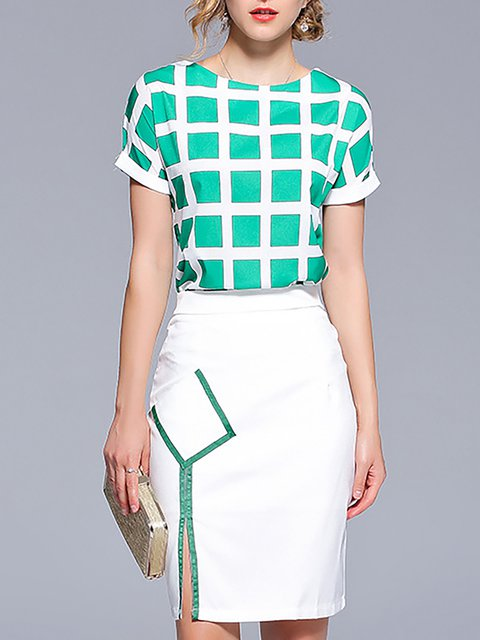 Stylewe Elegant Two-Piece Set For Women White-Green Color ...