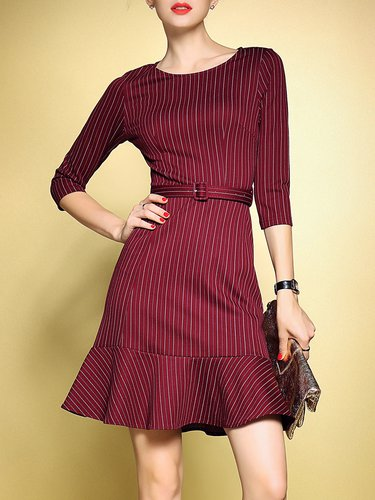 Red Elegant Stripes Printed Flounce Mini Dress With Belt