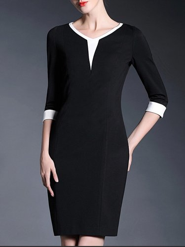 Simple Polyester Half Sleeve Paneled Midi Dress