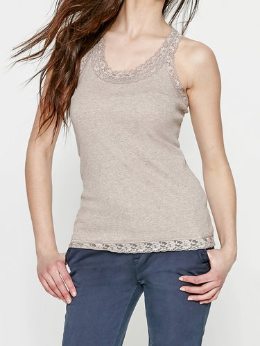 Nude Solid Sleeveless Cotton-blend H-line Tanks