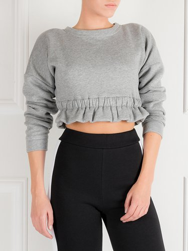 Gray Simple Ruffled Cropped Top