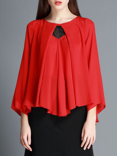 Red Silk Work Long Sleeved Top
