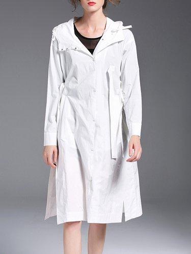 Hoodie Slit Simple A-line Midi Dress