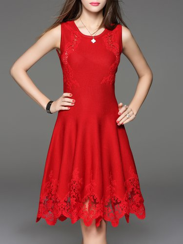 Red Embroidered Lace A-line Sleeveless Knitted Elegant Sweater Dress