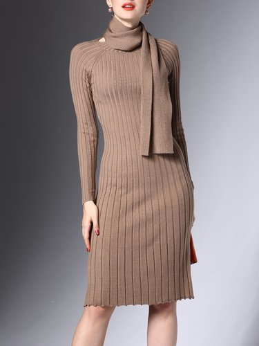 Camel Sheath Knitted Elegant Solid Sweater Dress