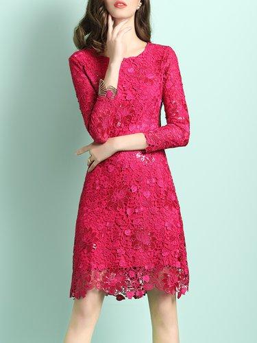 Fuchsia 3/4 Sleeve A-line Pierced Lace Midi Dress