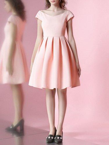 Polyester Plain Short Sleeve Simple Midi Dress