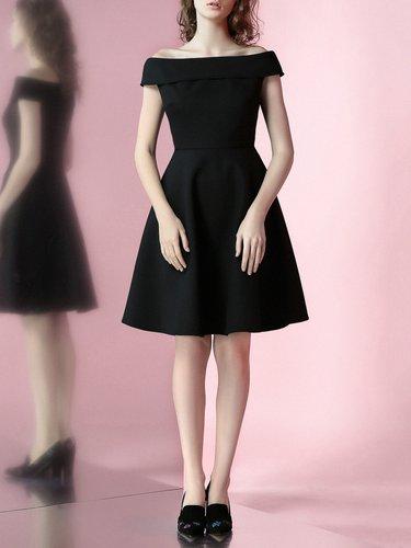 Black A-line Simple Midi Dress