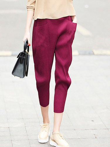 Burgundy Polyester Casual Plain Ribbed Cropped Pants