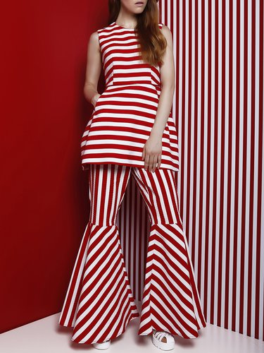 Red Sleeveless Stripes Crew Neck Polyester Tunic