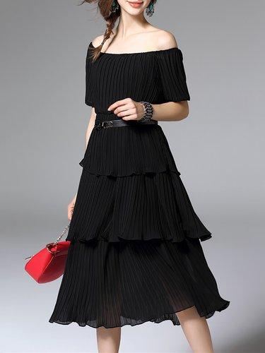 Shift Ribbed Short Sleeve Cotton-blend Casual Midi Dress