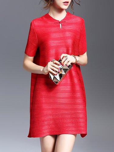 Red A-line Casual Polyester Ribbed Mini Dress