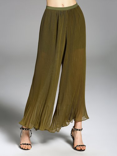 Green Outdoor Ribbed Wide Leg Pants