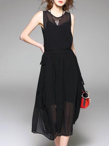 Black Crew Neck Sleeveless Ribbed Plain Midi Dress