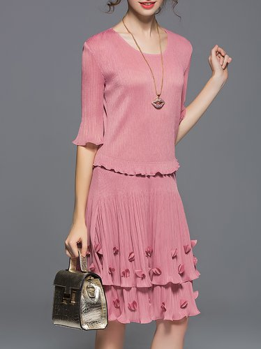 A-line Ribbed Casual Frill Sleeve Midi Dress