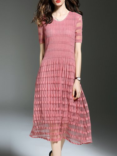 Pink Ribbed Crew Neck A-line Short Sleeve Midi Dress