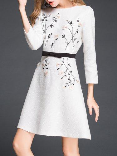 White Plain Simple A-line Embroidered Midi Dress