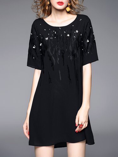 Black Short Sleeve Beaded Plain Polyester Mini Dress