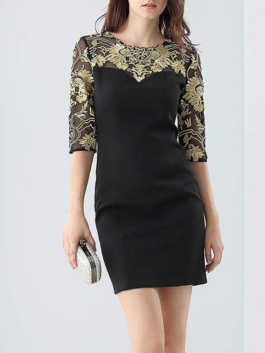 Black Sheath Slit Elegant Crew Neck Mini Dress