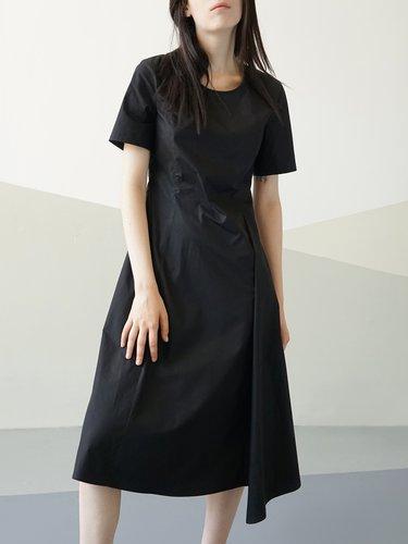 Short Sleeve Simple A-line Midi Dress