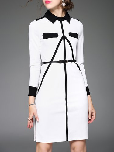 Long Sleeve Simple Polyester Color-block Midi Dress