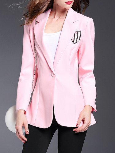 Pink Ruffled Long Sleeve Blazer