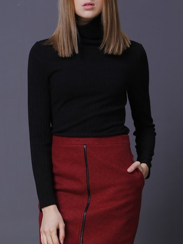 Black Turtleneck Knitted Ribbed Long Sleeve Sweater