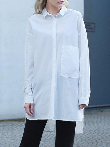 White Long Sleeve Pockets Tunic
