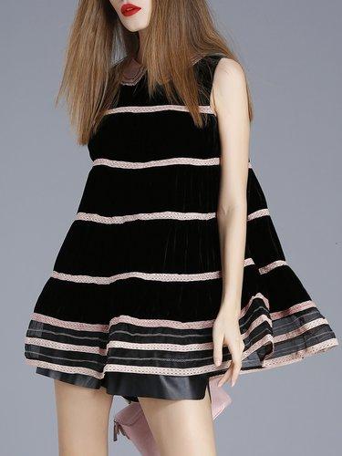 Black Ruffled Girly Crew Neck Sleeveless Stripes Tunic