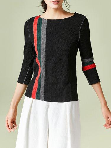 Black Stripes H-line Ribbed Long Sleeved Top