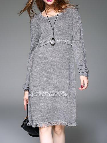 Gray Long Sleeve Ribbed H-line Sweater Dress