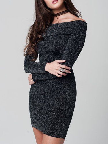 Silver Elegant Knitted Off-shoulder Bodycon Sweater Dress