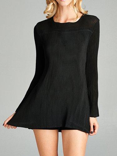 Black Ribbed Asymmetrical Long Sleeved Top