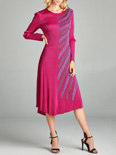 Fuchsia Stripes Ribbed Long Sleeve Midi Dress
