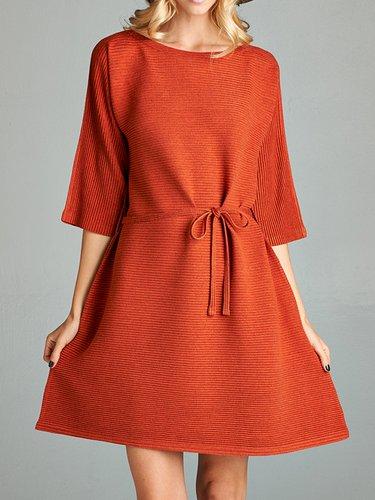 Orange 3/4 Sleeve Polyester Ribbed Mini Dress with Belt
