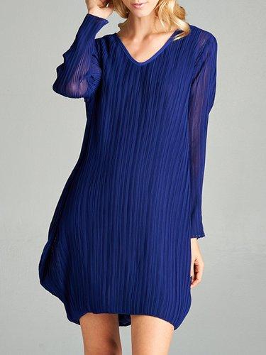 Blue Long Sleeve Cocoon Plain Ribbed Mini Dress