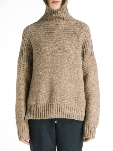 Knitted Ribbed Asymmetric H-line Casual Plain Sweater