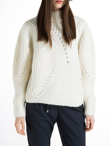 White Plain Turtleneck Ribbed Long Sleeve Sweater