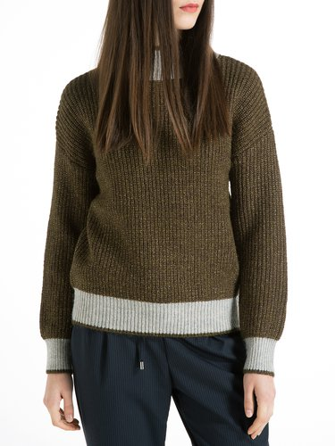 Knitted Turtleneck Long Sleeve Casual Ribbed Sweater