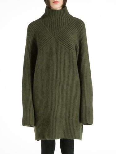 Ribbed Knitted Plain Long Sleeve Wool Blend Turtleneck Sweater