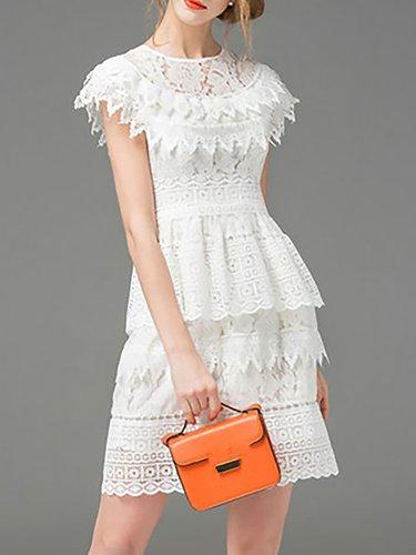 White Short Sleeve Plain Mini Dress