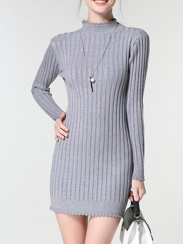 Gray Ribbed Bodycon Knitted Ruffled Sweater Dress