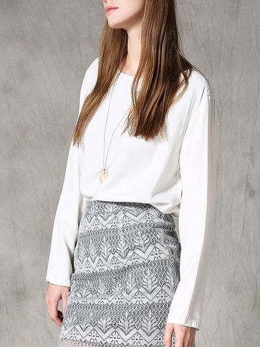 White Silk Casual Color-block Long Sleeved Top