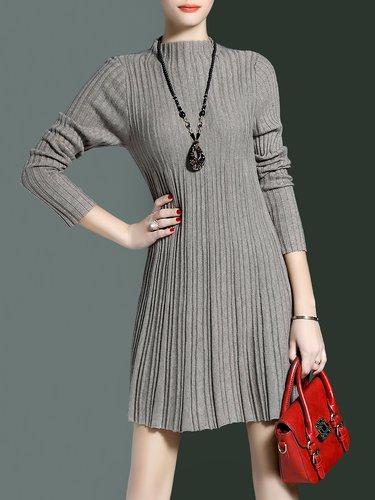 Deep Gray Ribbed Casual Plain Mini Dress