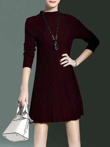 Plain Ribbed Long Sleeve Mini Dress