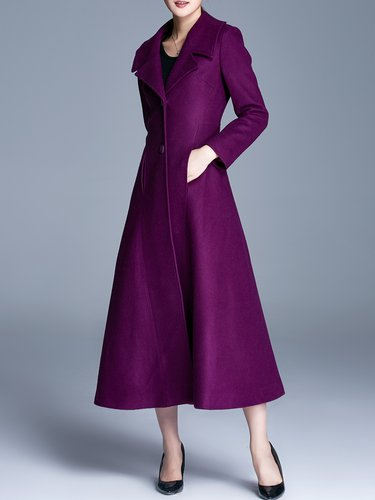 Plain A-line Casual Long Sleeve Lapel Coat