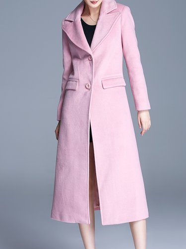 Pink Casual Plain Single Breasted Lapel A-line Coat