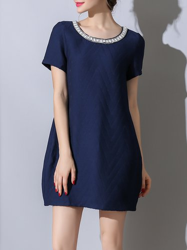Ribbed Casual Crew Neck Shift Mini Dress with Pockets