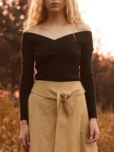 Black Off Shoulder Long Sleeve Knitted Sweater