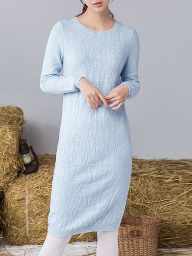 Long Sleeve Knitted Simple Midi Dress